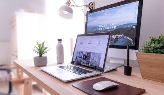 un ordinateur portable, un écran et des plantes sur une table